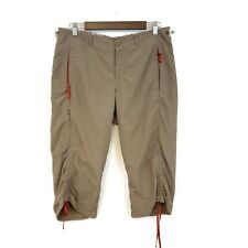 New listing Eddie Bauer Womens Tan First Ascent Cropped Pants Size 6 Outdoor Ruched Hiking