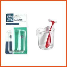 12 x SUCTION BATHROOM TUMBLERS Toothbrushes Razor Blades Tidy Neat Clear Decor