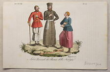 Europa Norwegen Kleidung Kupferstich um1825 Migliavacca handkoloriert Grafik xyz