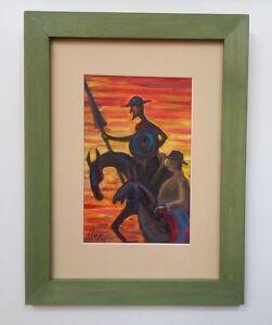 Llop - Quijote 27 - mini óleo s/lienzo original y enmarcado 32x25