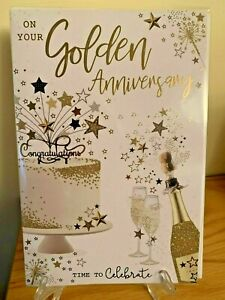 Golden Wedding Anniversary Gold Foil Quality Card Celebrate 50 years Party