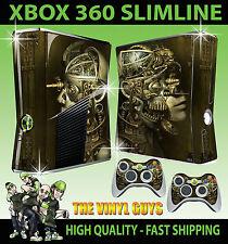 XBOX 360 SLIM STEAMPUNK ROBOTS SKULLS VICTORIAN GEARS STICKER SKIN & 2 PAD SKINS
