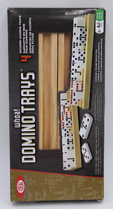 Set of 4 Wooden Domino & Playing Cards Rack Trays Holders Mexican Train Game