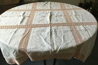 Vintage ANTIQUE Salmon Pink Handmade Crochet Inne &Hem Work Square Table Cloth