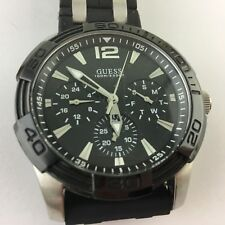 MENS WATCH MULTIFUNCTIONAL GUESS BLACK CERAMIC SILICONE & STAINLESS STEEL BAND