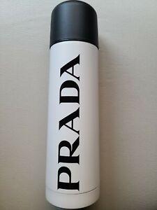 PRADA Logo-print stainless steel water bottle 500ml WHITE (*New)