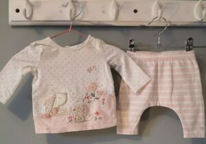 Baby Girl Clothes Pretty Bunny T-shirt & Leggings Outfit Newborn 7.8lbs Next