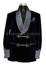 Men Smoking Blazer Jackets Bilberry Velvet Navy Blue Shawl Quilted Collar Coat