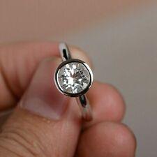 Bezel Set Moissanite Engagement Ring 14K White Gold Certified 1.50Ct White Round
