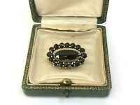 Vintage Antique Victorian Bohemian Gold plated Garnets Brooches Pin with Box