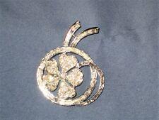 Vintage Silver-Tone Metal Clear Rhinestone Flower Pin Brooch