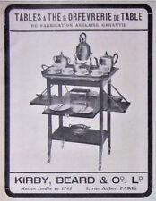 PUBLICITÉ DE PRESSE 1917 TABLES A THÉ & ORFEVRERIE DE TABLE ANGLAISE