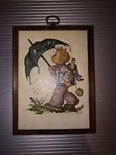 Vintage Hummel Wall Wooden Plaque Boy On Rainy Day
