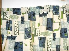 Retro Atomic Hawaiian 100% Cotton Barkcloth Fabric VALANCE ~Daddy-O /Cream~