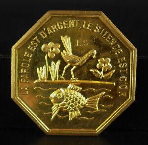 """Médaille voeux 1970 """" la parole est d'argent le silence est d'or"""" dicton philoso"""