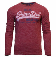 Superdry Mens Vintage Logo Premium Goods Long Sleeve Print T-Shirt Top Red