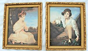 """Vintage Framed Paint By Numbers Paintings """"Age of Innocence"""" - """"Boy With Rabbit"""""""