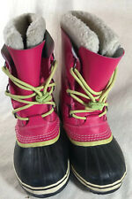 Sorel US 6 Women's Snow Boots Pink Leather Lace Up Caribou Waterproof READ BELOW