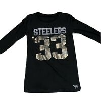 Pittsburgh Steelers #33 Womens Black Long Sleeve Shirt By Pink