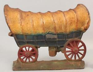 Antique Western Painted Cast Iron Conestoga Covered Wagon Doorstop, NR