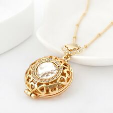 Women's 18K Gold GF Hollow Heart Locket Swarovski Crystal Pendant Necklace