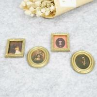 4x/set Golden Plastic Photo Frames DIY 1:12 Miniature Dollhouse Furniture Decor