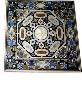 """42"""" Marble Black Top Dining Table Pietra Dura Inlay Arts Living Home Decor B908"""