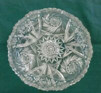 Vintage Cut Lead Glass Crystal Candy Dish Sawtooth Edge Geometric