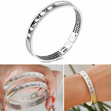 Jewelry Buddhist Scriptures 925 Sterling Silver Punk Gothic Couple Bangles Gifts