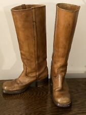 Knee High Boots 70's Chunky Stacked Wood Heel Stadium Campus Size 7 Usa Cognac
