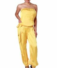 Sassy Yellow Gold Tube Jumpsuit w/neckline design & tie. Small & Medium