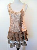 A'reve Womens Brown Beige Lace Ruffle Hem Sleeveless Dress/Tunic Top Size Medium