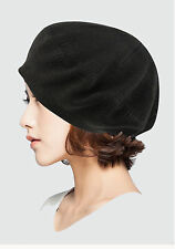 Ladies Cute Soft Knit Solid Beret Beanie Hat Tam Black #ww003