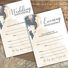 WEDDING INVITATIONS BLANK CLASSIC BRIDE & GROOM DAY & EVE,PACKS OF 10