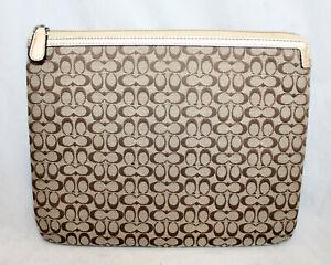 COACH Signature Universal Tablet Sleeve Khaki & Brown Jacquard Fabric Gold Lthr