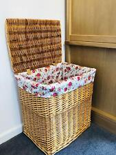 French Chic Regular Floral Light Brown Honey Walnut Wicker Laundry Basket Rattan