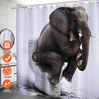 72 inch 3D Elephant Shower Curtain Waterproof Fabric Bathroom Decor w/ 12