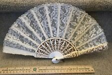 Vintage hand-painted white fan made of wood and lace for weddings & parties.