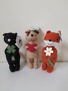 Jellycat Mini Messenger Set Rare Fox Cat Dog Love Luck Flower Bundle Standing