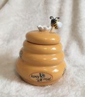 Honeypot Miel Jar w Wooden Honey Dipper Bumble Bee Yellow Golden Beehive