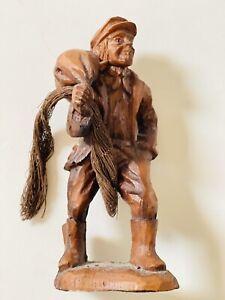 Vintage hand carved Wood Figure Of Breton fisher man