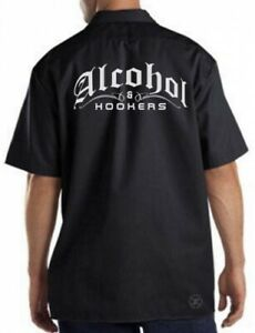 ALCOHOL & HOOKERS Mechanics Work Shirt ~ Beer Whiskey Liquor FUNNY Garage Party