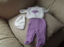 HAND KNITTED DOLL'S CLOTHES  SWEATER, HAT & LEGGINGS - HEART- BABYBORN