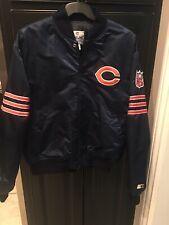Chicago Bears Starter Proline Vintage Satin Bomber Jacket Mens Size XL NFL USA