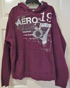 AEROPOSTALE pullover hoodie sweatshirt Aero-Maroon-New York City -1987 - L