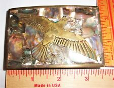 vintage bird buckle old clothing collectible inlaid Mother of Pearl made Mexico