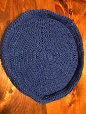 Handmade Crochet Round Cat Bed Dark Blue