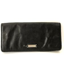 Cole Haan Black Clutch Bag Purse Textured Leather Handbag Mirror Silver Logo