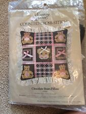 Something Special Counted Cross Stitch Chocolate Bears Pillow 50088 Unopened