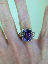 GORGEOUS BARBARA  BIXBY 18K  STERLING SILVER LARGE 5.80 CARAT AMETHYST RING 6